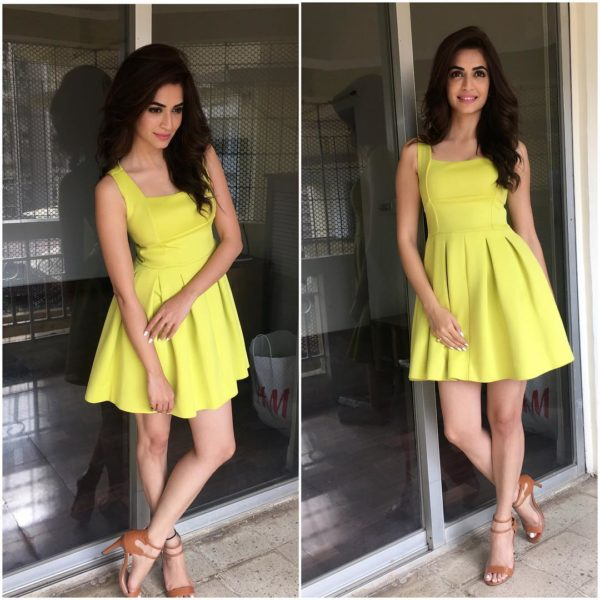 Kriti Kharbanda looking hot In yellow dress