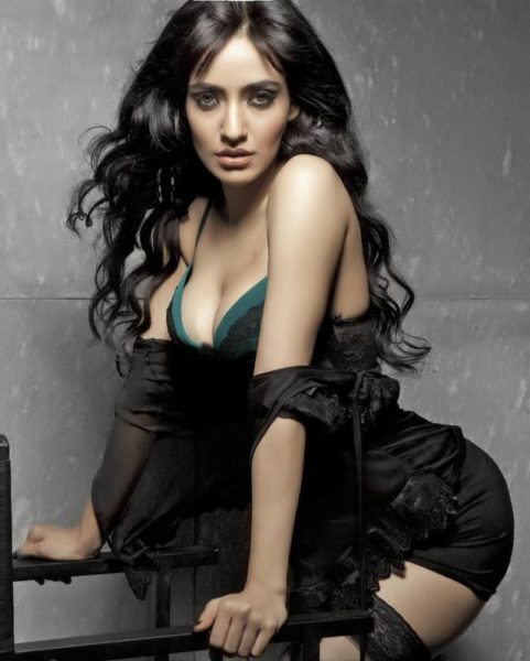 Neha Sharma Hot Black Bikini Bra Cleavage Photos
